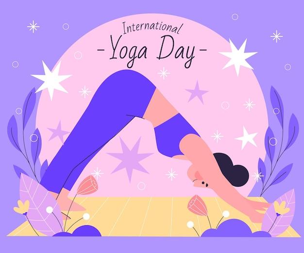 Ilustração desenhada à mão para o dia internacional da ioga