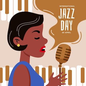 Ilustração desenhada à mão para o dia internacional do jazz com mulher cantando