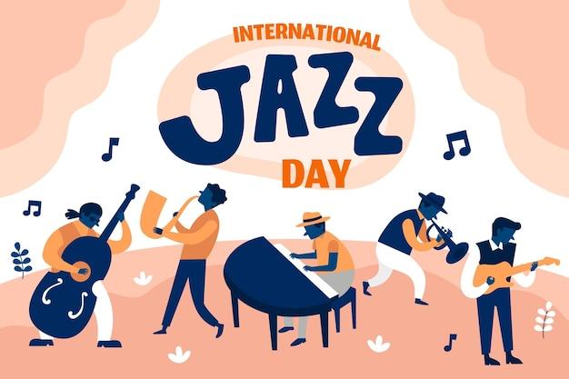 Ilustração desenhada à mão para o dia internacional do jazz