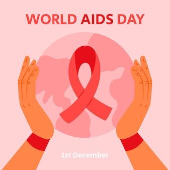 Ilustração desenhada à mão para o dia mundial da aids