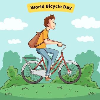 Ilustração desenhada à mão para o dia mundial da bicicleta