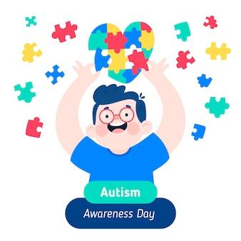 Ilustração desenhada à mão para o dia mundial da conscientização do autismo