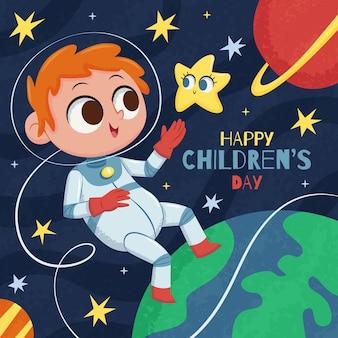 Ilustração desenhada à mão para o dia mundial da criança plana