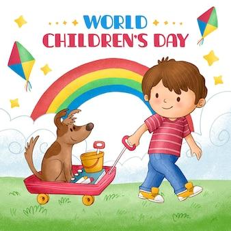 Ilustração desenhada à mão para o dia mundial da criança Vetor grátis