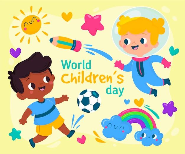 Ilustração desenhada à mão para o dia mundial da criança
