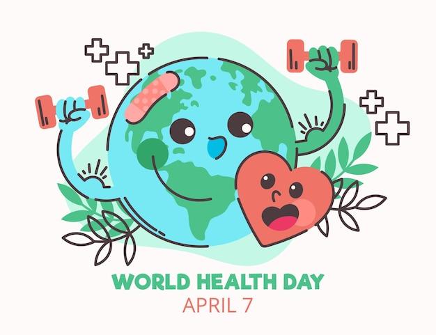 Ilustração desenhada à mão para o dia mundial da saúde com planeta e halteres