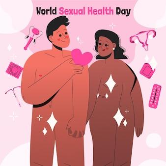 Ilustração desenhada à mão para o dia mundial da saúde sexual