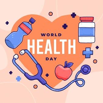 Ilustração desenhada à mão para o dia mundial da saúde