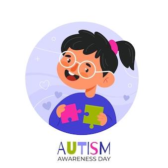 Ilustração desenhada à mão para o dia mundial de conscientização do autismo