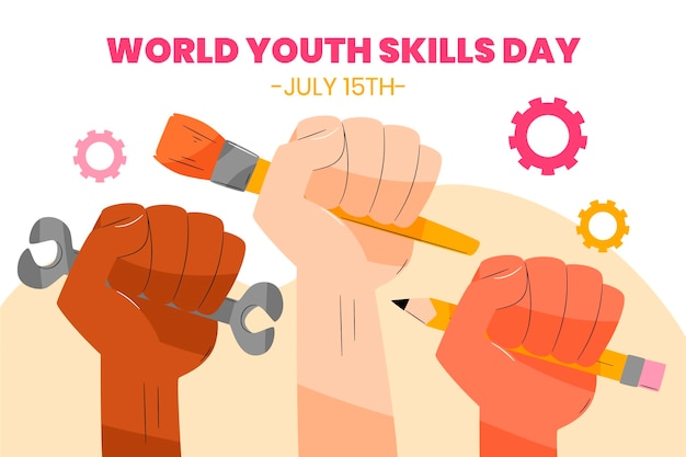 Ilustração desenhada à mão para o dia mundial de habilidades juvenis