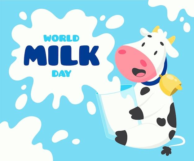 Ilustração desenhada à mão para o dia mundial do leite