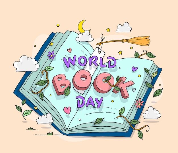 Ilustração desenhada à mão para o dia mundial do livro