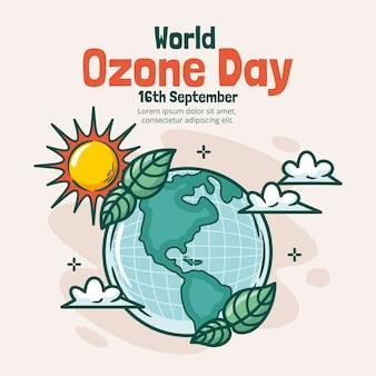 Ilustração desenhada à mão para o dia mundial do ozônio
