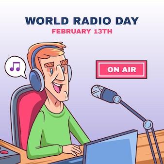 Ilustração desenhada à mão para o dia mundial do rádio