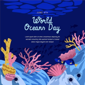 Ilustração desenhada à mão para o dia mundial dos oceanos