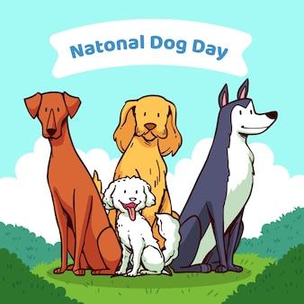 Ilustração desenhada à mão para o dia nacional do cão