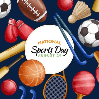 Ilustração desenhada à mão para o dia nacional do esporte