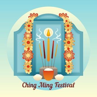 Ilustração desenhada à mão para o festival ching ming