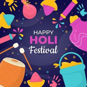 Ilustração desenhada à mão para o festival de holi