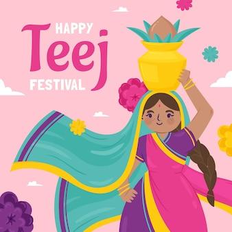Ilustração desenhada à mão para o festival teej