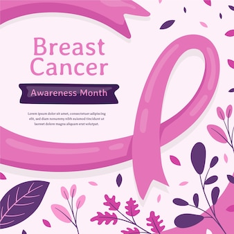 Ilustração desenhada à mão para o mês de conscientização do câncer de mama Vetor grátis