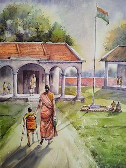 Ilustração desenhada à mão para pintura de paisagem de vila em aquarela