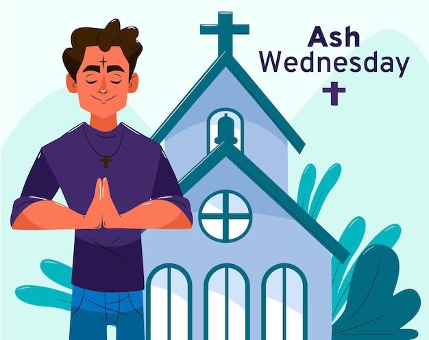 Ilustração desenhada à mão para quarta-feira de cinzas