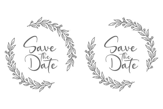 Ilustração desenhada à mão para salvar a data do casamento com ramos de flores