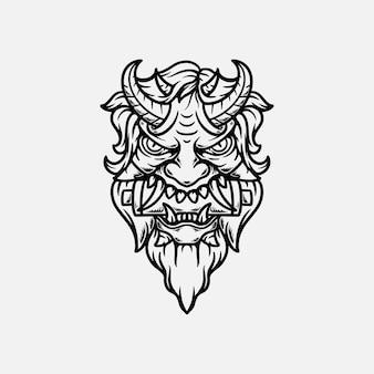 Ilustração desenhada à mão para tatuagem de máscara oni