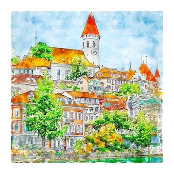 Ilustração desenhada à mão para thun switzerland.