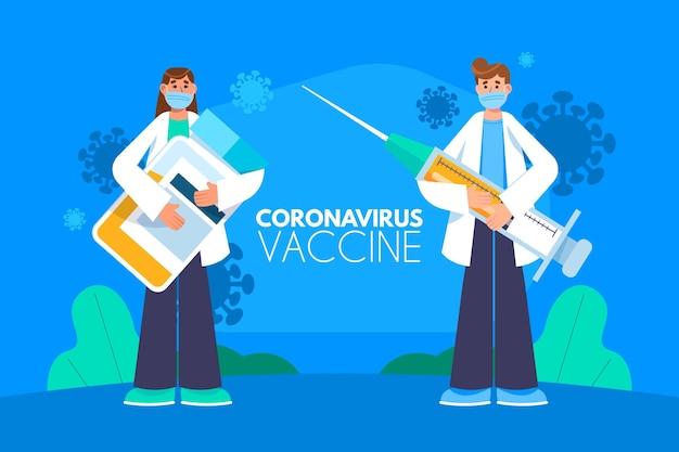 Ilustração desenhada à mão plana da vacina contra o coronavírus