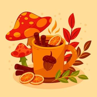 Ilustração desenhada à mão plana de outono