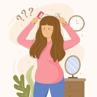 Ilustração desenhada à mão plana sobre queda de cabelo