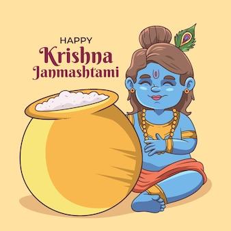 Ilustração desenhada à mão por krishna janmashtami