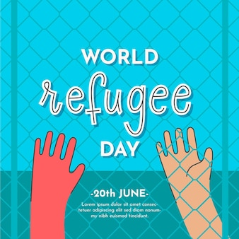 Ilustração desenhada com evento do dia do refugiado