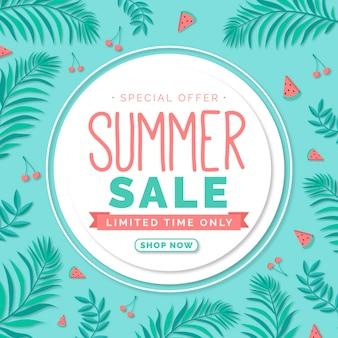 Ilustração desenhada com oferta de venda de verão