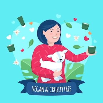 Ilustração desenhada de crueldade livre e conceito vegano