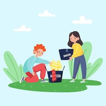 Ilustração desenhada de doação de roupas