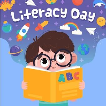 Ilustração desenhada de menino lendo