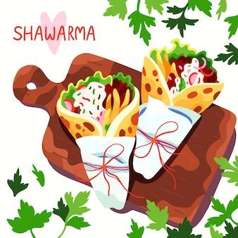 Ilustração desenhada de shawarma nutritiva
