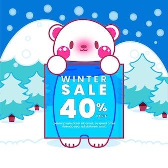 Ilustração desenhada de venda de inverno com urso polar fofo