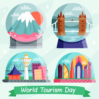 Ilustração desenhada do dia do turismo