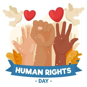 Ilustração desenhada do dia internacional dos direitos humanos