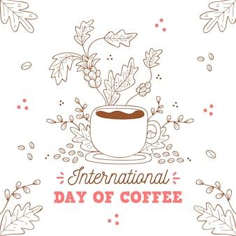 Ilustração desenhada do evento do dia internacional do café