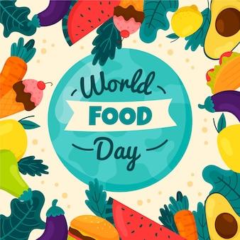 Ilustração desenhada do evento do dia mundial da comida