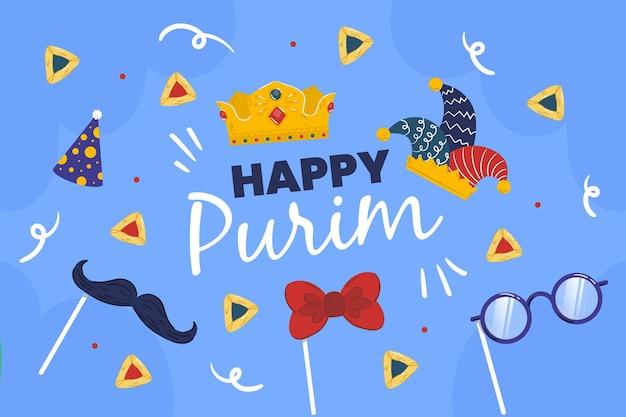 Ilustração desenhada do feliz dia do purim