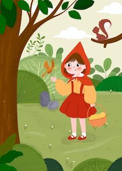 Ilustração desenhada do pequeno capuz vermelho