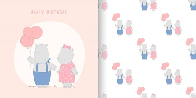 Ilustração desenhada e padrão sem emenda com hipopótamo e balões para aniversário.