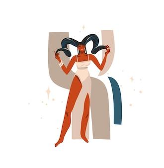 Ilustração desenhada mão com zodíaco astrológico, signo áries com beleza mágica desenho artístico feminino afro-americano isolado