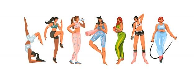 Ilustração desenhada mão conjunto pacote com mulheres de treinamento de fitness esporte em roupas esportivas sobre fundo de cor branca.
